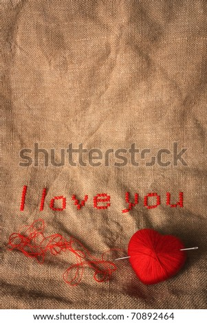 Valentine embroidery with empty space