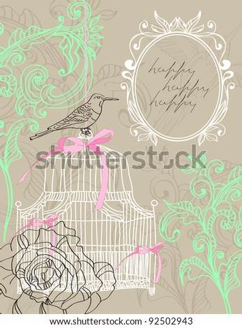 Valentine hand drawing light brown background with flowers and cage