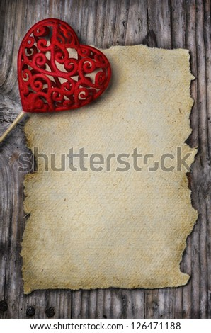 Valentine heart and old empty page