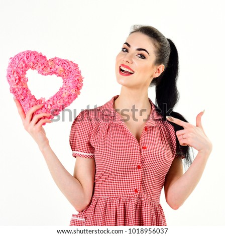 Valentine heart concept. Woman in fashionable dress with valentine heart. #1018956037