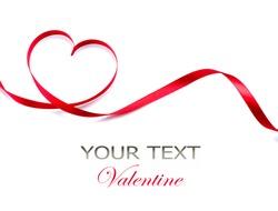Valentine Heart. Elegant Red satin gift Ribbon. Isolated on white. Border design. Red silk ribbon curves Frame
