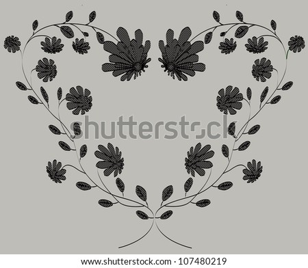 Valentine heart frame from flowers isolated on grey background vector illustration