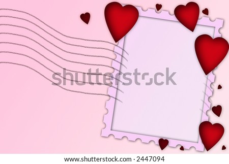 Valentine Heart Framed Background With Stamp Outline