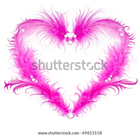 Valentine heart in pink feathers and pearls isolated on white background