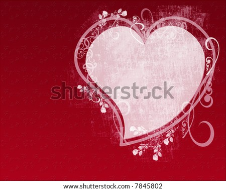 Valentine heart on textured floral background with ornate scrolls and roses; computer illustration