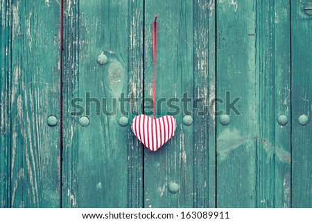 Valentine heart on wooden vintage background