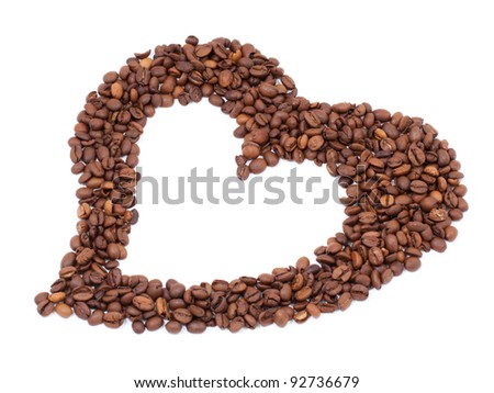 Valentine Heart shaped Coffee beans isolated on white background