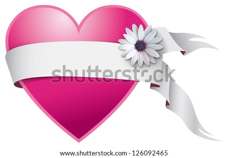 Valentine heart with white ribbon and daisy