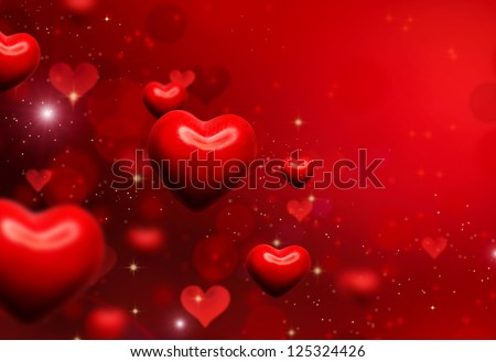 Valentine Hearts Background. Valentines Red Abstract Wallpaper. Backdrop Collage