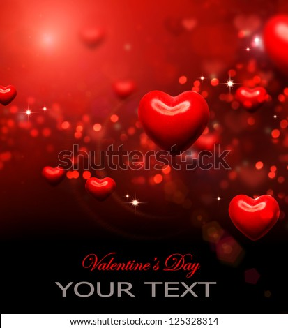 Valentine Hearts Background. Valentines Red Abstract Wallpaper. Backdrop. St. Valentine's Day Card Design