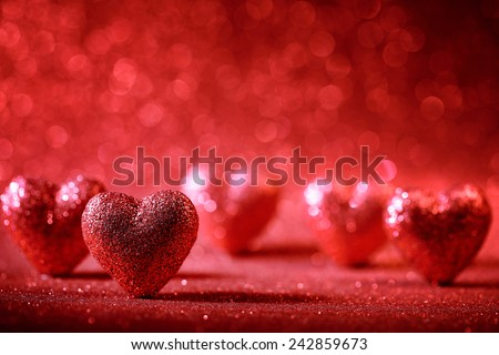 Valentine Hearts on Abstract Background