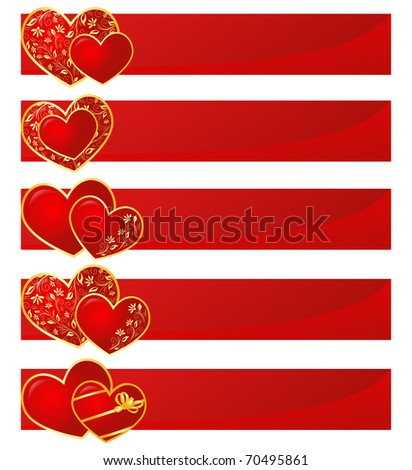 Valentine hearts with floral pattern