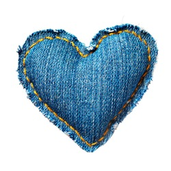 Valentine jeans heart. Isolated on white.