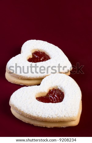 valentine linzer torte cookie hearts on red background