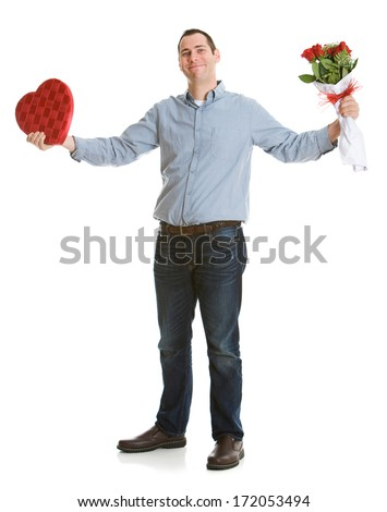 stock photo: man with valentine gifts