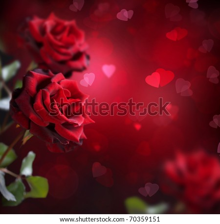 Valentine or Wedding Card.Roses and Hearts