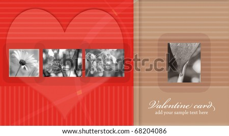 valentine red card with space for sample text