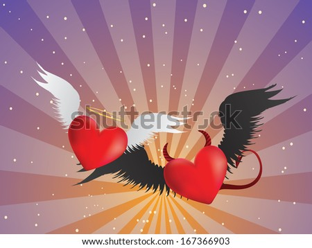 Valentine red hearts with angel wings on background with rays. - stock photo