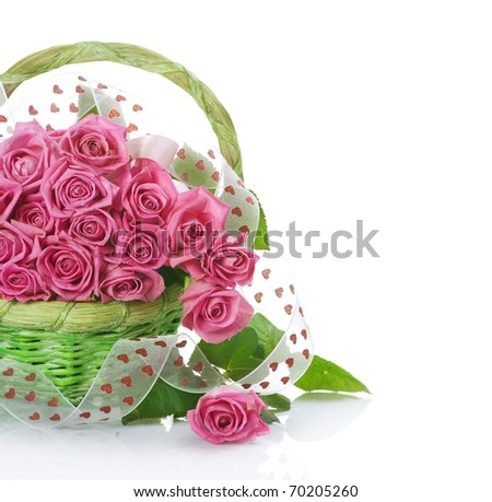 Valentine Roses Bouquet in the basket - stock photo