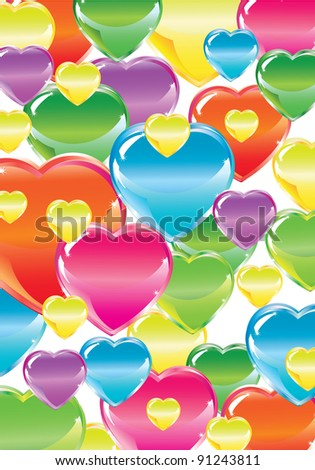 Valentine's background with bright colorful hearts over white
