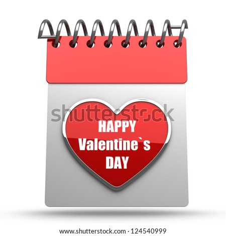 Valentine's calendar  isolated on white background high resolution 3d illustration