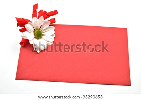 Valentine's card with daisies - stock photo