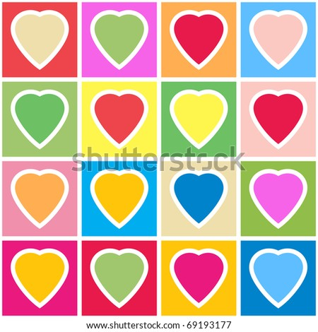 Valentine's day abstract background with multicolor hearts on grid. Seamless pattern. Raster illustration.