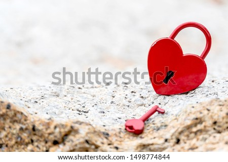 Valentine's Day and love concept with heart shaped padlock. Sweetest key and romance symbol. #1498774844