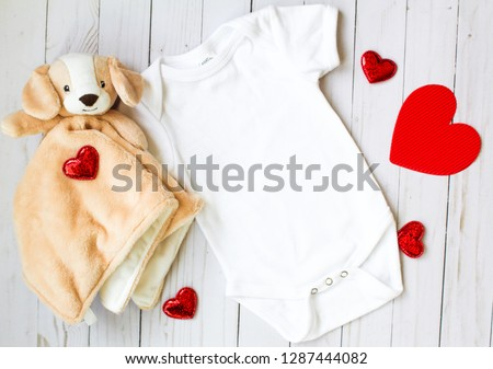 Valentine's Day Baby Onesie Mockup with Hearts and Stuffed Doggy #1287444082