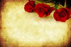 Valentine's Day background, combining red roses with sandstone and paper grunge textures.