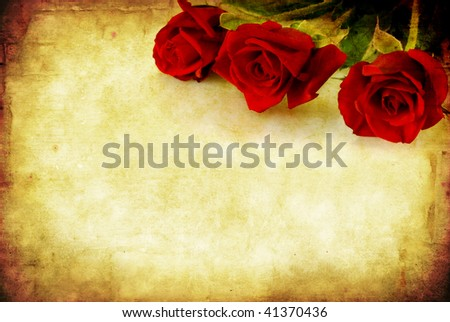 Valentine\'s Day background, combining red roses with sandstone and paper grunge textures.