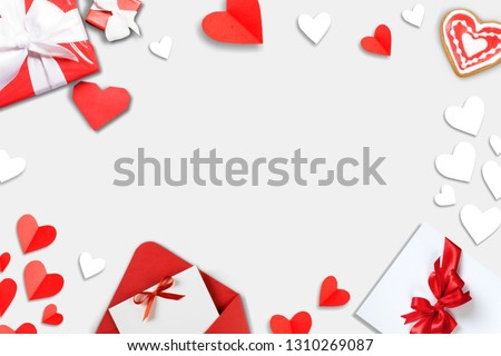 Valentine's Day background. Gifts, candle, confetti, envelope on pastel blue background. Valentines day concept. Flat lay, top view, copy space          - Image #1310269087