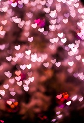 Valentine's day background with hearts.Bokeh hearts