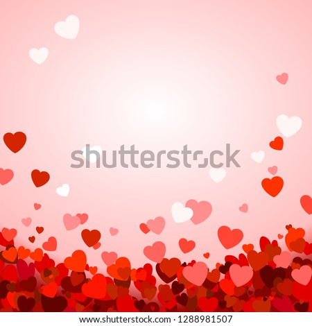 Valentine's day background with hearts. Romantic decoration elements. Background with falling hearts confetti. illustration #1288981507