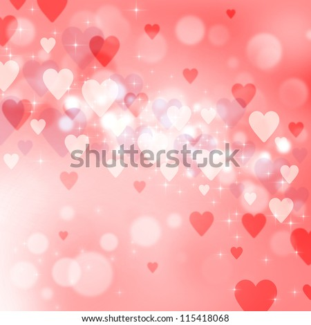 Valentine's day background with many pink and red hearts