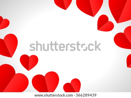 Valentine's day background with paper hearts #366289439