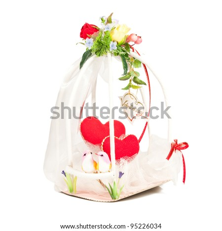 Valentine's Day basket. - stock photo