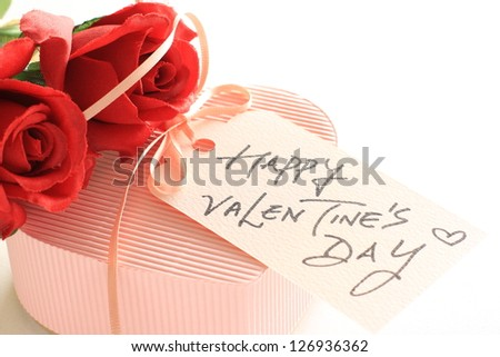 Valentine's day card and heart shaped gift box with copy space