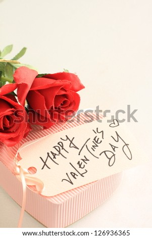 Valentine\'s day card and heart shaped gift box with copy space