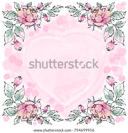 Valentine S Day Card Background With Beautiful Hand Painted Roses