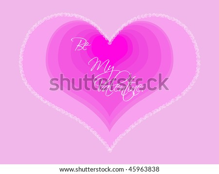 Valentine\'s day card design featuring layered hearts in different shades of pink with a decorative outline.
