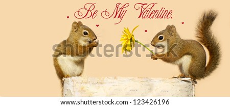 Valentine\'s Day card design for a child\'s Valentine  day exchange featuring a little male squirrel giving his little female friend a flower.