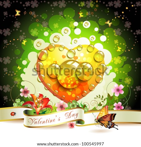 Valentine's day card. Heart and butterflies over springtime background