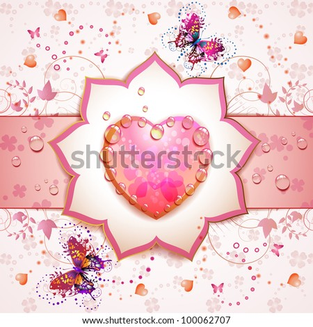 Valentine's day card with butterflies