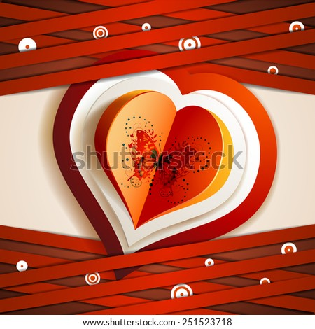 Valentine\'s day card with hearts and butterfly