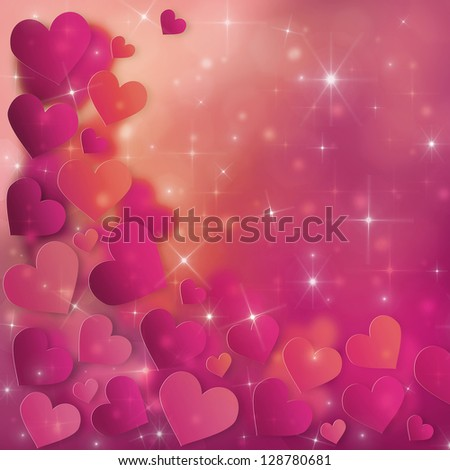 Valentine`s Day Card with red and pink hearts and stars
