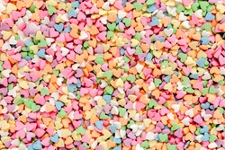 Valentine's Day composition. Flat lay, top view of multicolored, colorful hearts texture. Love concept.
