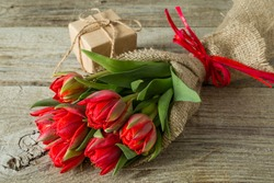 Valentine's day concept - flowers and present, copy space