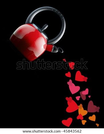 Valentine's Day concept with a red teapot pouring hearts