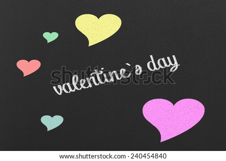 Valentine`s Day Concept with Colourful Hearts on a Black Chalkboard #240454840